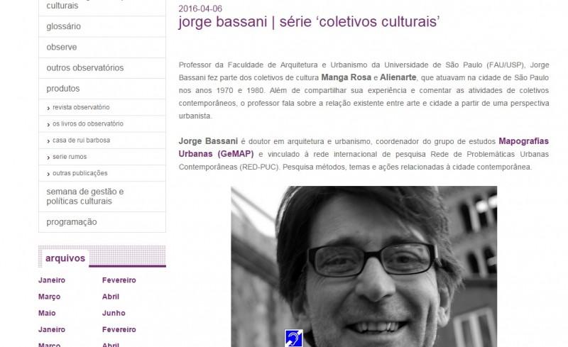 Entrevista de Jorge Bassani sobre coletivos culturais