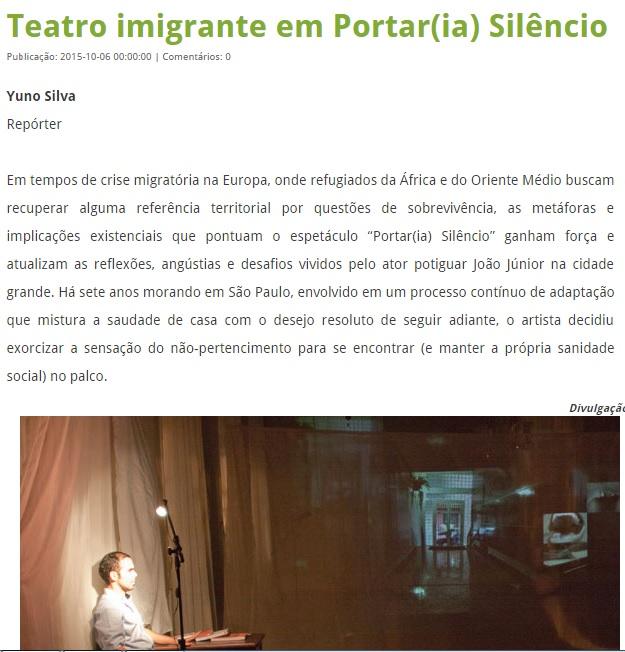 Teatro Imigrante em Portar(ia) Silêncio